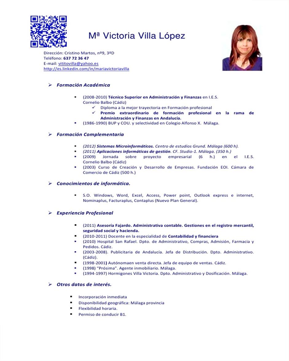 Fantástico Muestra De Currículum Contable Viñeta - Ejemplo De ...